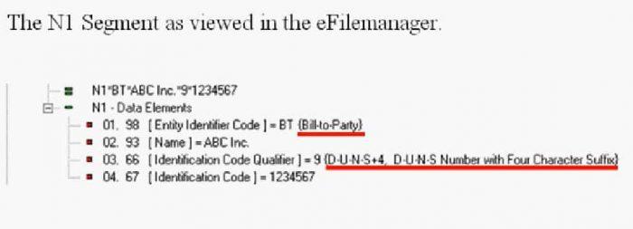 EDI n1 segment viewed in efilemanager